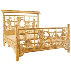 Hollywood Regency Giltwood Faux-Bamboo Pagoda Bed