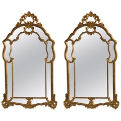 Hollywood Regency Giltwood French Shell Carved Wall or Console Mirrors, a Pair