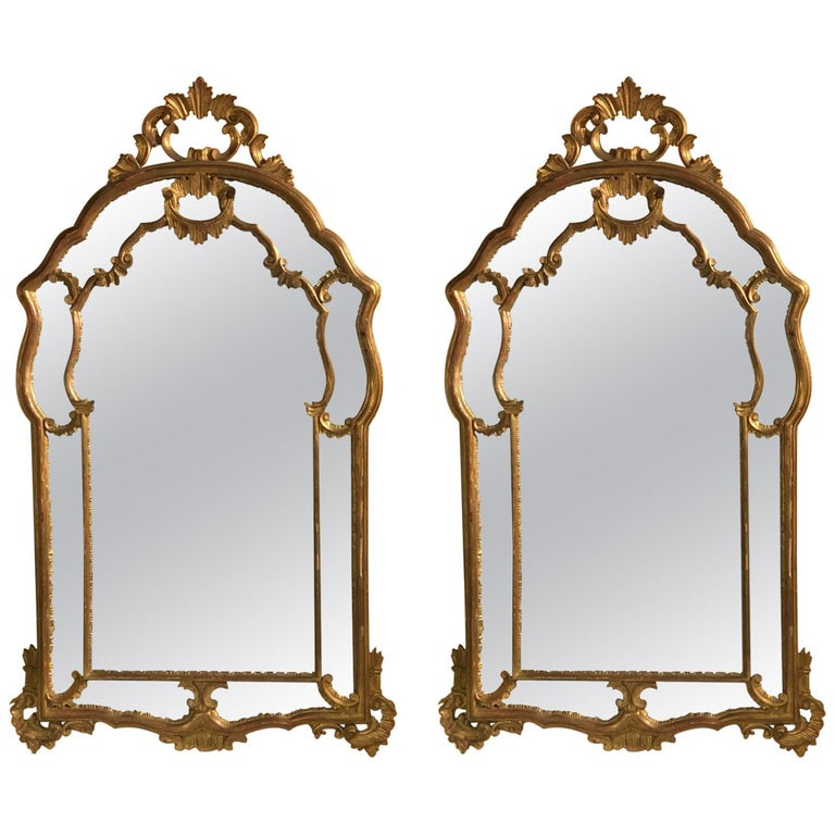 Hollywood Regency Giltwood French Shell Carved Wall or Console Mirrors, a Pair For Sale