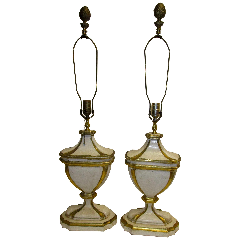 Hollywood Regency Giltwood Lamp, Pair