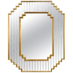 Hollywood Regency Giltwood Mirror with Faceted Mirrored Frame