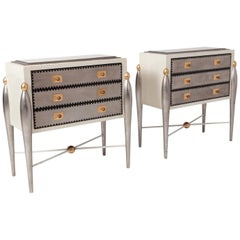 Hollywood Regency Glam 1970s Drawer Cabinets