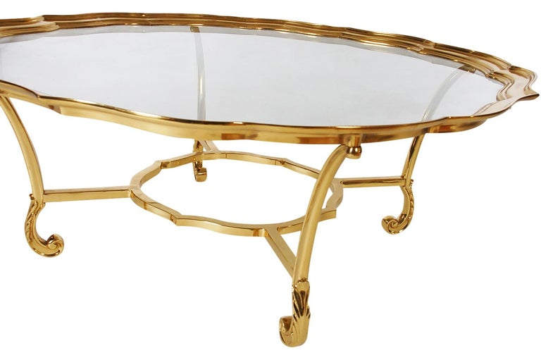 French Hollywood Regency Glass and Brass Round Cocktail Table by LaBarge For Sale