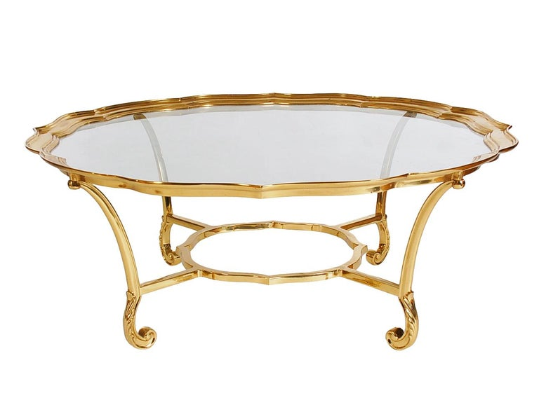 Late 20th Century Hollywood Regency Glass and Brass Round Cocktail Table by LaBarge For Sale