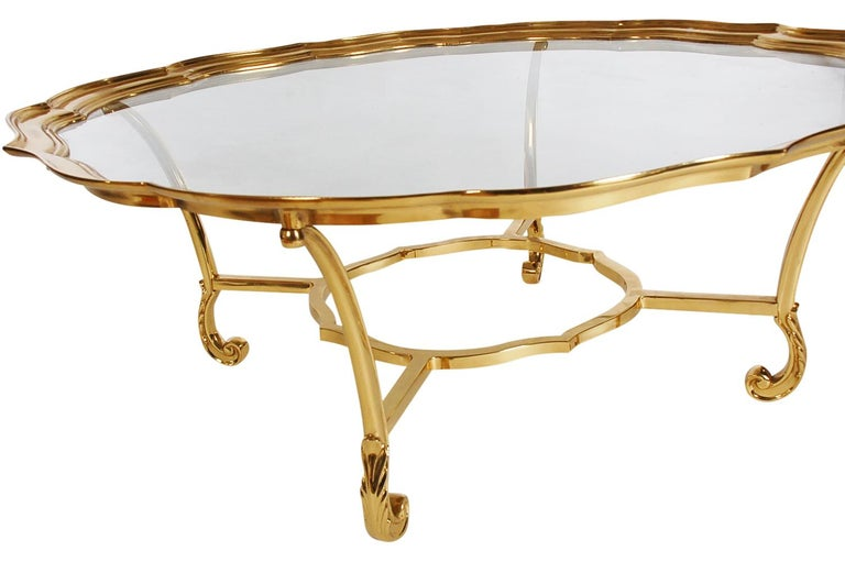 Hollywood Regency Glass and Brass Round Cocktail Table by LaBarge For Sale 1