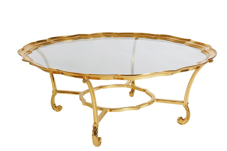 Hollywood Regency Glass and Brass Round Cocktail Table by LaBarge For Sale 2