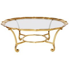 Hollywood Regency Glass and Brass Round Cocktail Table by LaBarge