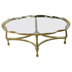 Oval Hollywood Regency Brass and Glass Top Coffee Table Attributed to Labarge
