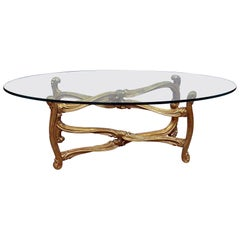 Hollywood Regency Glass Top Coffee Table
