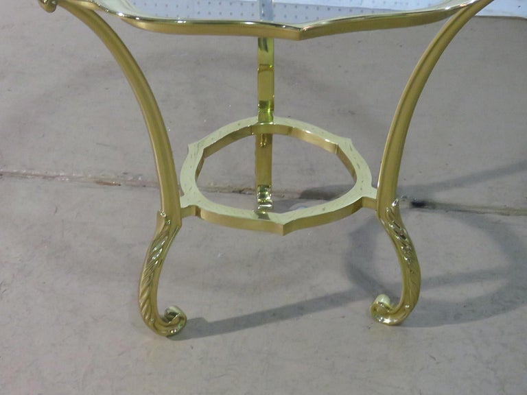American Round Hollywood Regency Brass and Glass Top Side Table Attributed to Labarge For Sale