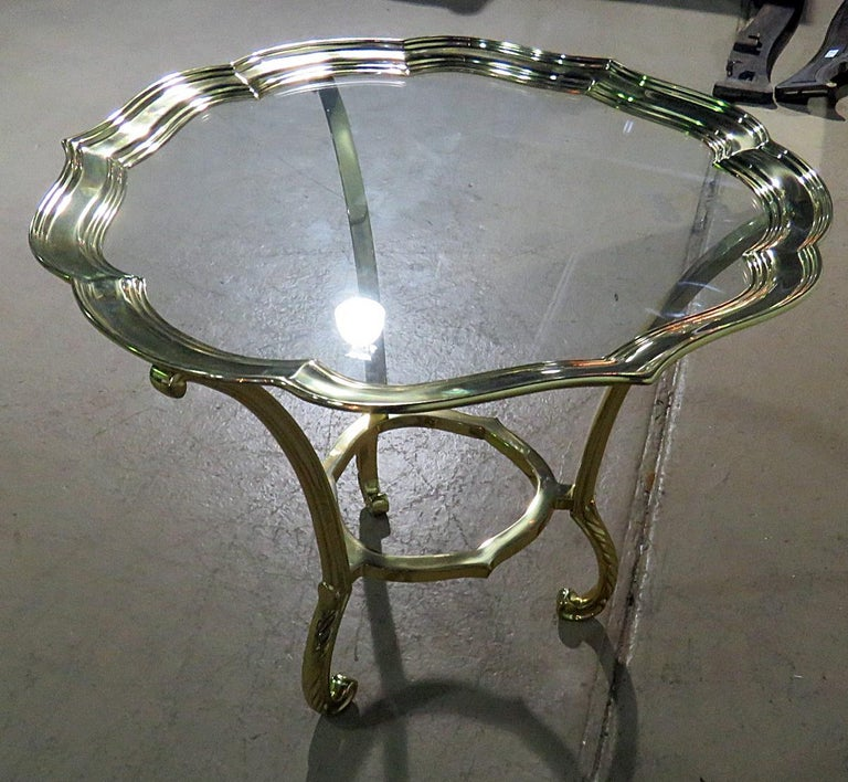 20th Century Round Hollywood Regency Brass and Glass Top Side Table Attributed to Labarge For Sale