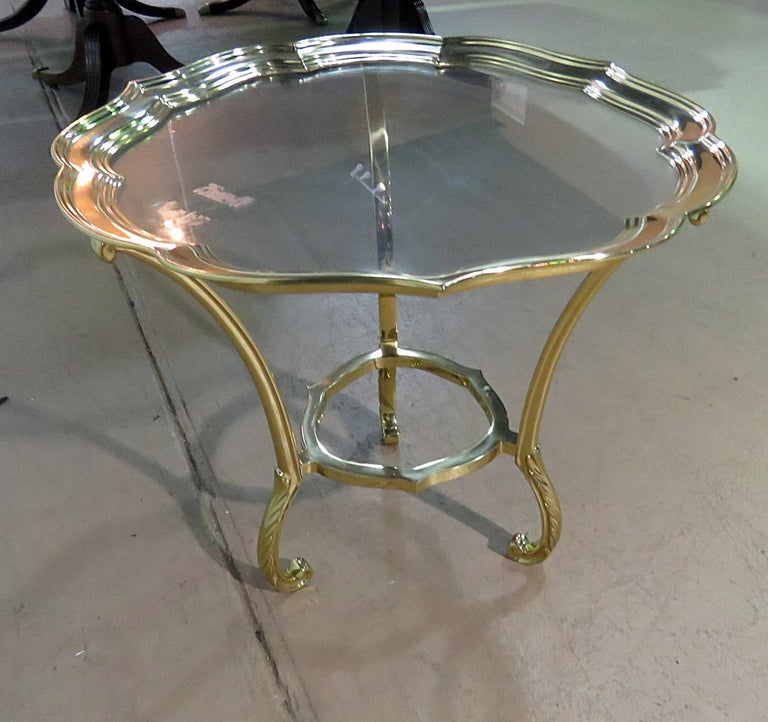 Round Hollywood Regency Brass and Glass Top Side Table Attributed to Labarge For Sale 1