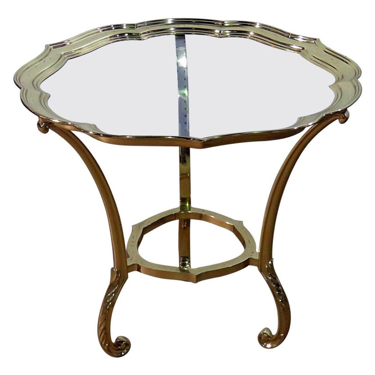 Round Hollywood Regency Brass and Glass Top Side Table Attributed to Labarge For Sale