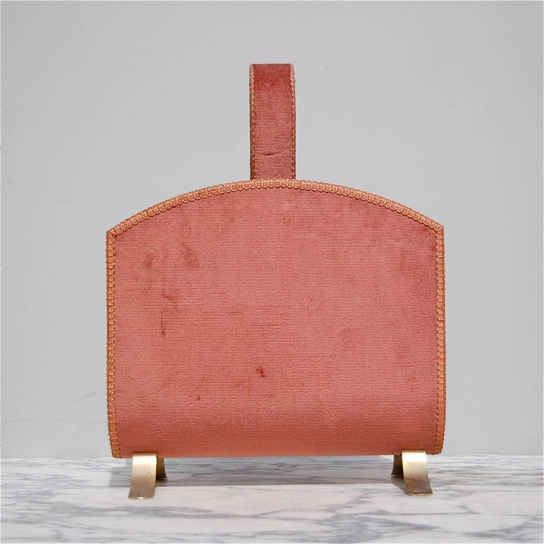 French Hollywood Regency Gold and Pink Magazine Rack, circa 1950s For Sale