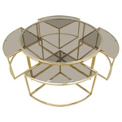 Hollywood Regency Gold Coffee Table with 4 Nesting Tables, France 1960s