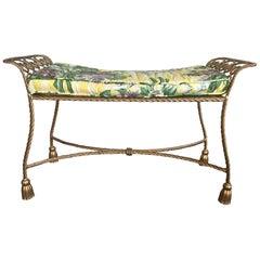 Hollywood Regency Gold Gilt Wrought Iron Tassel Vanity Bench