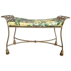 Hollywood Regency Gold Gilt Wrought Iron Tassel Vanity Bench