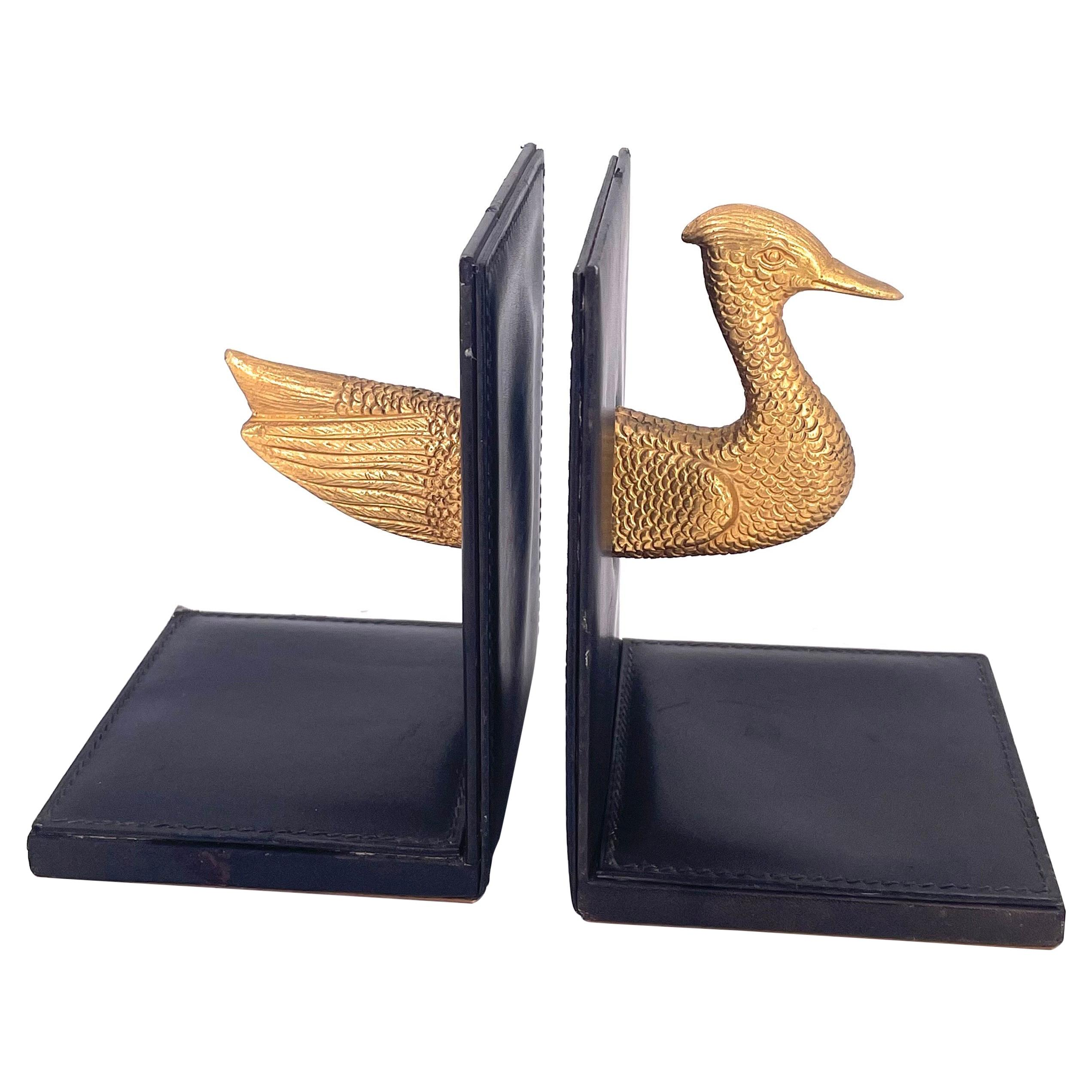 Hollywood Regency Gold Guild Bronze & Leather Italian Bookends