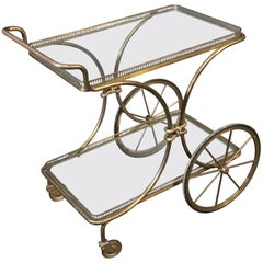 Hollywood Regency Gold Leaf Gilded Metal Italian Tea Trolley Liquor Cart