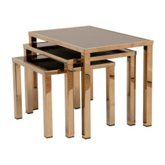 Hollywood Regency Gold Plated Nest of Tables by Belgo Chrome, c.1970