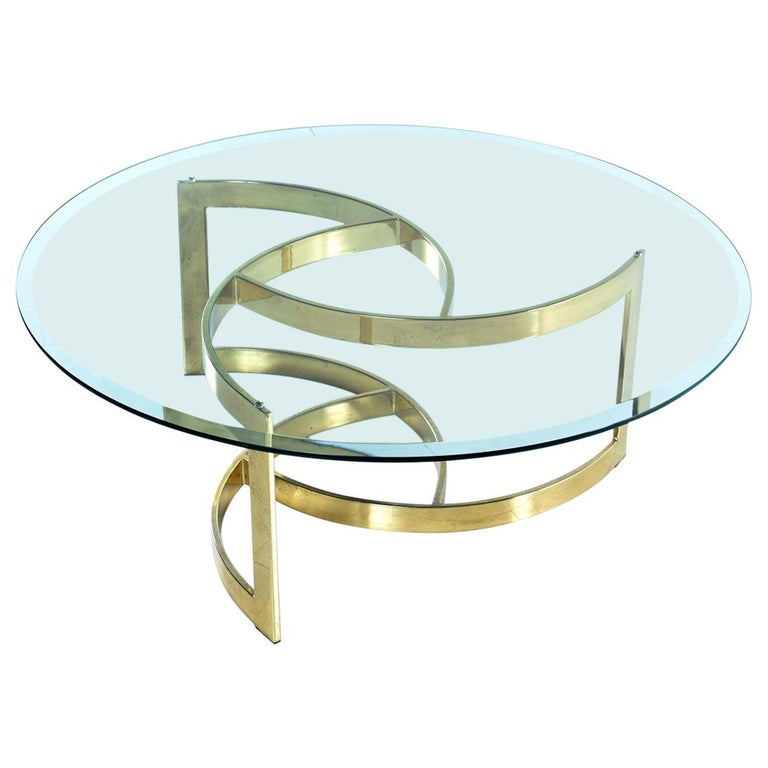 Hollywood Regency Gold Spiral Coffee Table With Circular Glass Top