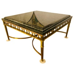 Hollywood Regency Granite Top on Brass Base Center or Cocktail Table
