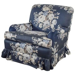 Hollywood Regency Gray Chintz Cabbage Rose Floral Club Chair Swivel Rocker