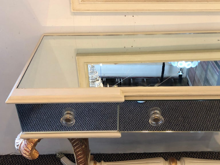 Hollywood Regency Grosfeld House Painted Vanity and Matching Mirror For Sale 8