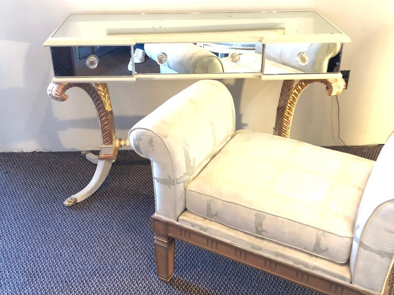 Hollywood Regency Grosfeld House Painted Vanity and Matching Mirror For Sale 2