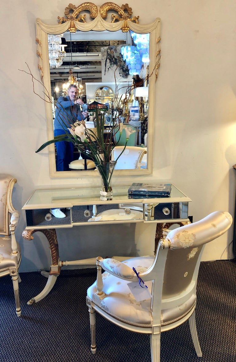 Hollywood Regency Grosfeld House Painted Vanity and Matching Mirror For Sale 3