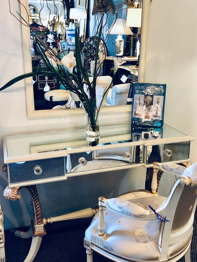 Hollywood Regency Grosfeld House Painted Vanity and Matching Mirror For Sale 4