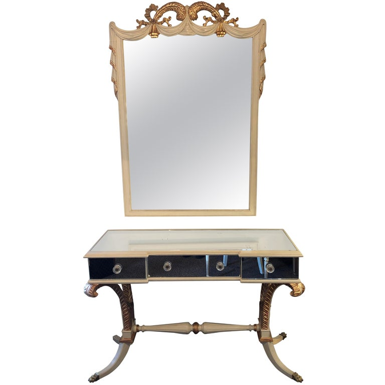 Hollywood Regency Grosfeld House Painted Vanity and Matching Mirror For Sale