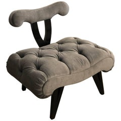 Hollywood Regency Grosfeld House Tufted Gray Mohair Ebonized Wood Slipper Chair