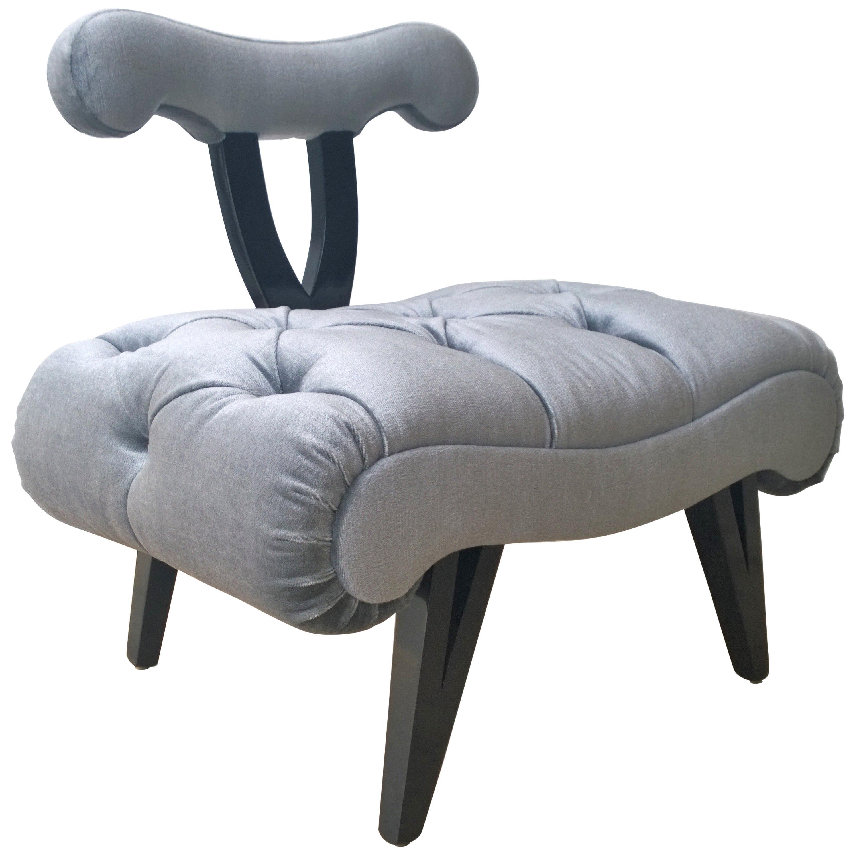 Hollywood Regency Grosfeld House Tufted Gray Mohair Ebonized Wood Slipper Chair