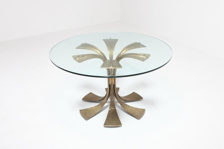 European Hollywood Regency Hammered Brass Dining Table by Luciano Frigerio For Sale