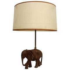 Hollywood Regency Hand Carved Wood Elephant Sculpture Lamp, 1950s