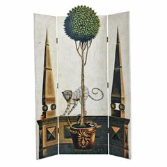 Hollywood Regency Hand Painted Maitland Smith Folding Screen Room Divider