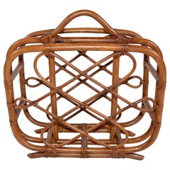 Hollywood Regency Handcrafted Bamboo and Cane Magazine Rack, American, 1970s