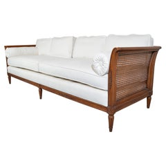 Hollywood Regency Henredon Mid-Century Heirloom Woven Cane Sofa in Chenille