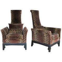 Hollywood Regency High Back Chairs Velvet Animal Print Style of James Mont, Pair