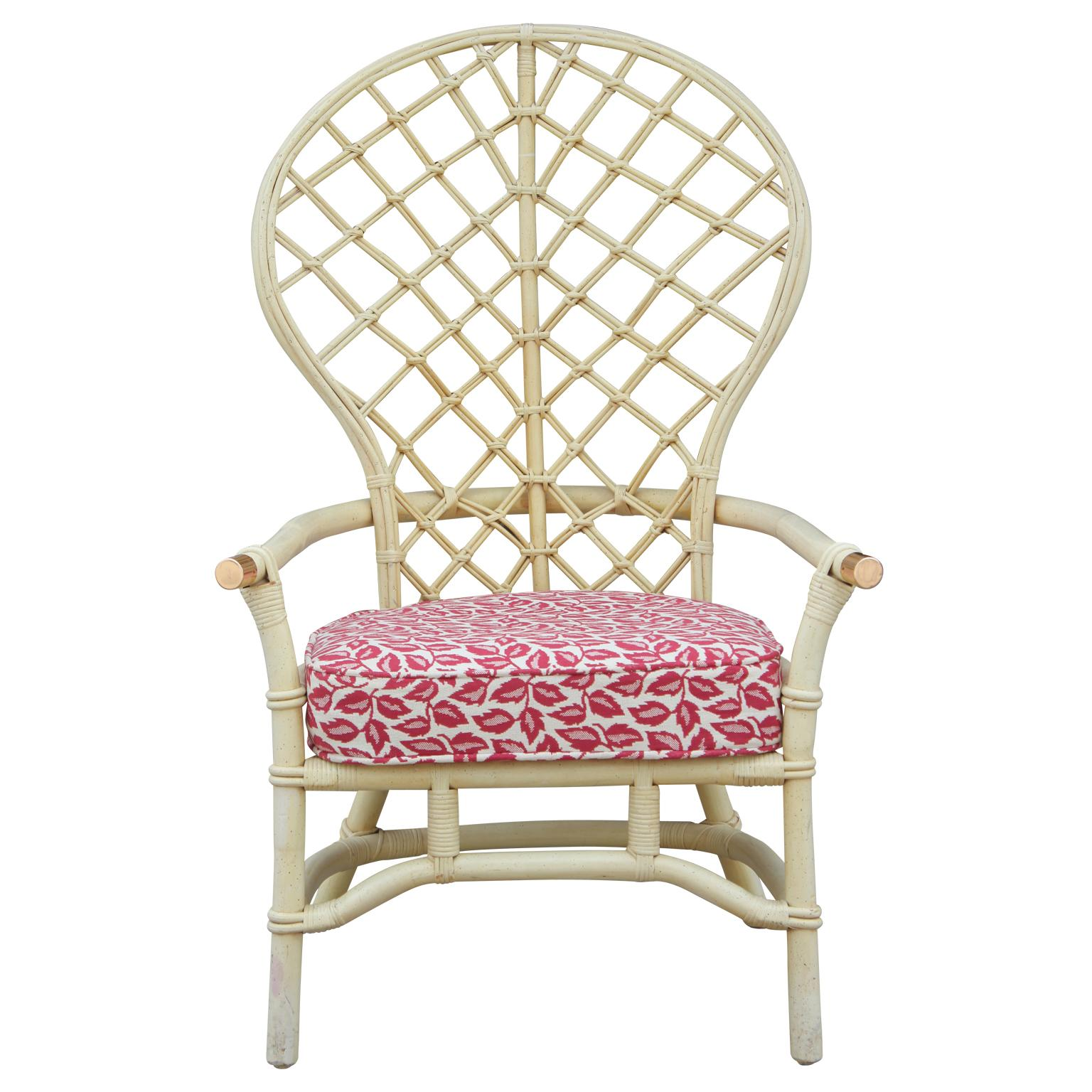 Hollywood Regency High Back Fan Faux Bamboo Rattan Chair By Ficks Reed For  Sale