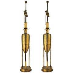 Hollywood Regency Honeycomb Brass Table Lamps