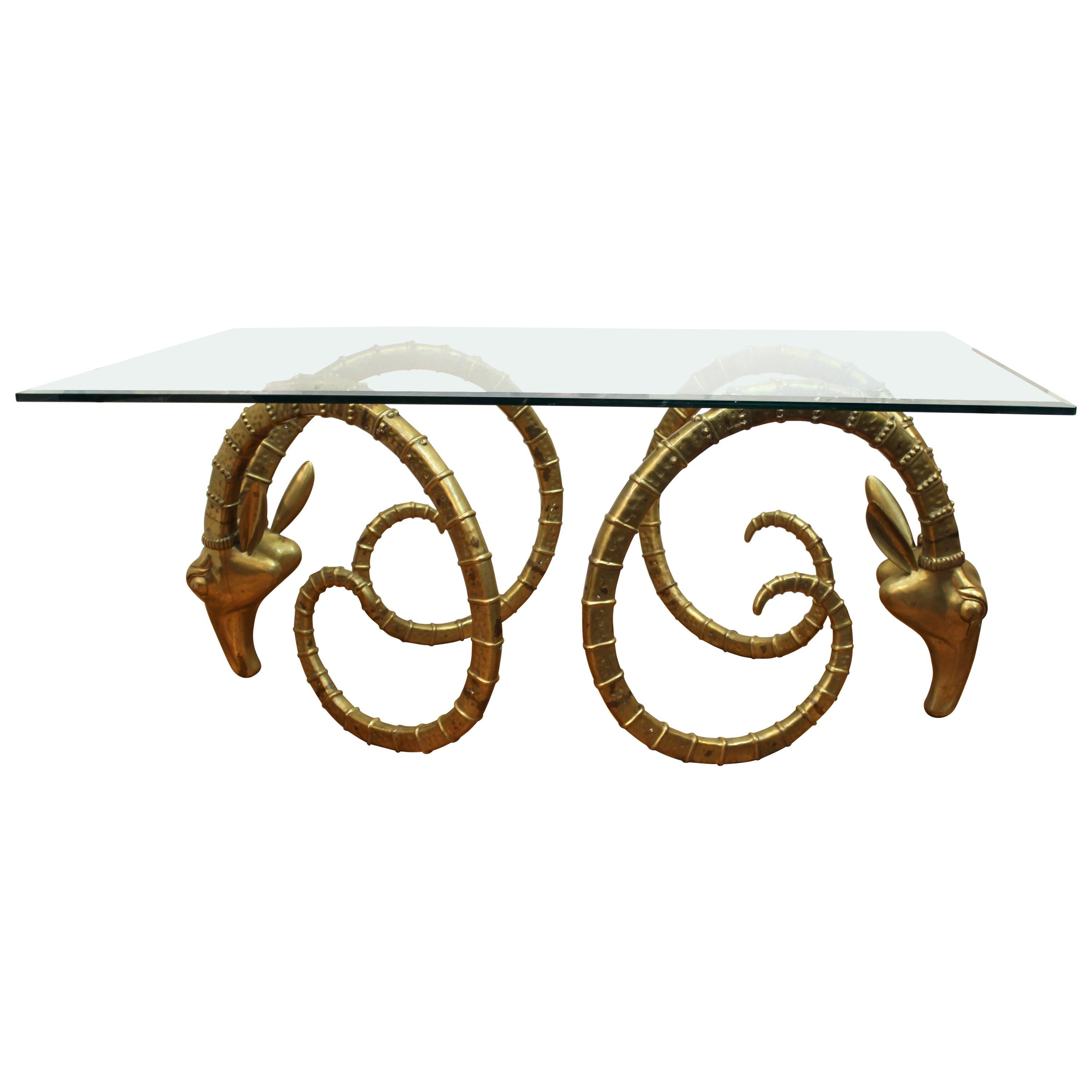 Hollywood Regency Ibex Head Dining Table Attributed to Chervet