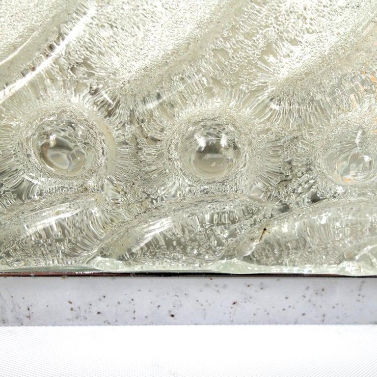 Hollywood Regency Ice Glass Sconce or Flush Mount by Kalmar For Sale 4