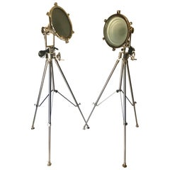 Hollywood Regency Industrial Chrome Spotlight Floor Lamps with Tripod Stand
