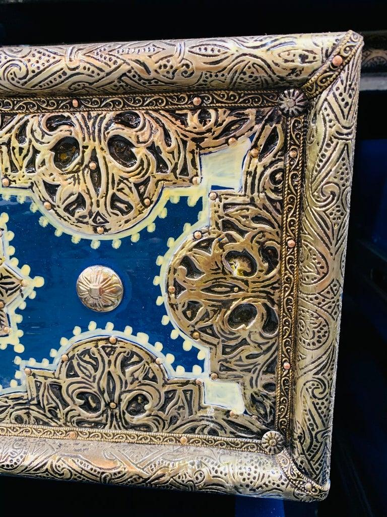 Hollywood Regency Inlaid Blue Large Sideboard, Commode or Dresser For Sale 8