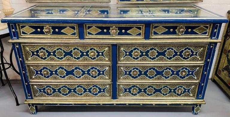 Hollywood Regency Inlaid Blue Large Sideboard, Commode or Dresser For Sale 3