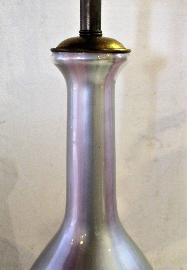 Hollywood Regency Iridescent Glass Lamp by Frederick Cooper In Good Condition For Sale In Rochester, NY