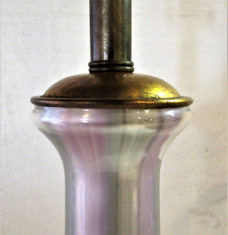 Mid-20th Century Hollywood Regency Iridescent Glass Lamp by Frederick Cooper For Sale
