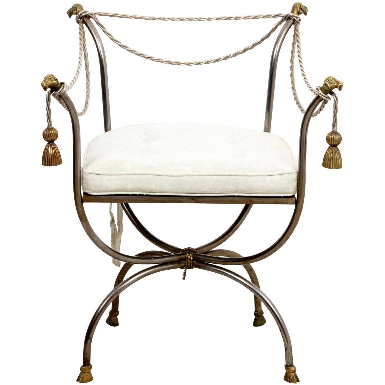 Hollywood Regency Iron and Gilt Armchair